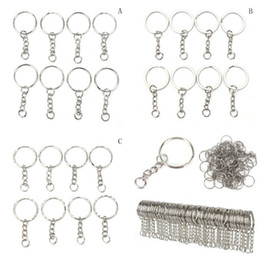 Discount silvery jewelry - 50pcs 100 Pcs Set Silvery Stainless Alloy Circle DIY Key Chains 25mm Keyrings 3 Styles Jewelry Keychain Key Ring