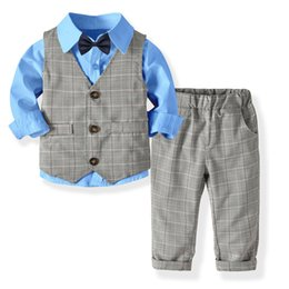 5341ff9461b1f 2019 Kids Boys Formal Suits Blazers Sets 4Pcs Clear Gentleman Kids Baby  Boys Suit Tops Shirt Waistcoat Tie Pant 4PCS Set Clothes