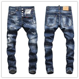 $enCountryForm.capitalKeyWord NZ - 19ss Top Quality Designer Brand D2 Men Jeans Embroidery Pants Fashion Holes Trousers Luxury Denim Italy Hot style men d2dsq jeans #5605