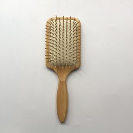 Wholesale High quatity Wooden Big Size Comb Wooden Paddle Nylon Bristle Teeth Square Hair Brush Antistatic Cushion Bamboo Hair Brush