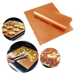 Discount outdoor kitchens grills - Reusable BBQ Copper Grill Mat Baking Easy Clean Grilling Fried Sheet Portable Outdoor Picnic Cooking Barbecue Kitchen To