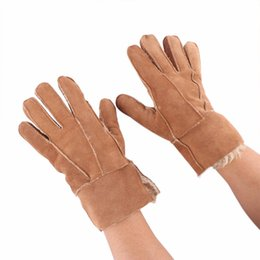 leather fur gloves NZ - 1Pair Cool Men's Winter Genuine Brown Sheepskin Leather Shearling Fur Warm Gloves New