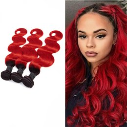 Ombre dyed weave online shopping - Peruvian Virgin Hair Human Hair Extensions B Red Silky Straight pieces B Red Ombre Color B Red Twwo Tones Color inch
