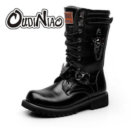 Motorcycle Chain Australia - Army Boots Men Chain Military Combat Mens Skull Metal Buckle Lace Up Male Motorcycle Punk Boots Men's Shoes Rock