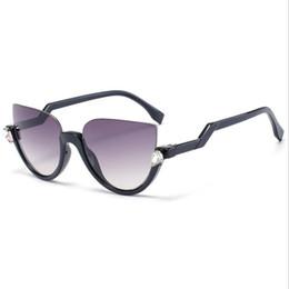 b96cb2e3e71 Half Frame 2019 Cat Eye Sunglasses Brand Designer Vintage Mirror Sunglasses  for Women Metal Reflective Flat Lens Sun Glasses Female