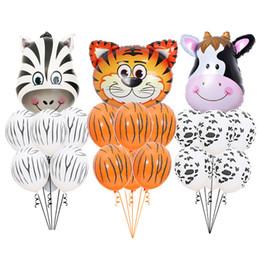 $enCountryForm.capitalKeyWord Australia - 7pcs Tiger Zebra Latex Balloon Set Theme Jungle Safari Animals Head Foil Balloons Birthday Party Decorations Baby Shower Gifts