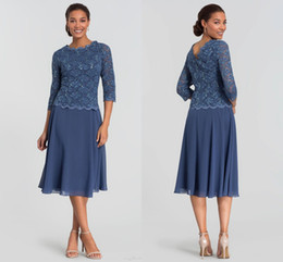 Green knee lenGth dresses online shopping - Navy Blue Lace Long Sleeve A line Mother Of The Bride Dresses Cheap Short Knee Length Mother Formal Gown Evening Party Prom Mother Dresses