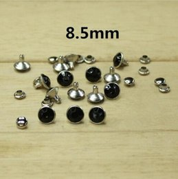 wholesale cone studs NZ - 100 Set 8.5mm Black Color Crystal Clear Faceted Bead Metal Silver Base Rapid Rivets Studs,Decoration Findings For Clothing Crafting,Leather