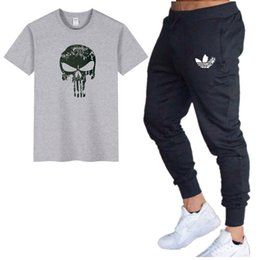 loose wine 2019 - New men's running suit breathable T-shirt short paragraph + loose stretch sweatpants summer jogging fitness trainin