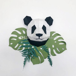 $enCountryForm.capitalKeyWord UK - Giant panda head 3D three-dimensional paper art diy handmade modern minimalist wall decoration home living room photography props ins