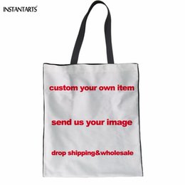 $enCountryForm.capitalKeyWord Australia - INSTANTARTS Teenage Girls Daily Linen Tote Bags Custom Your Own Image Handbags Casual School Students Bookbags Shoulder Bags