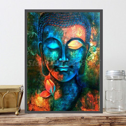 Bedroom Painting Portraits Australia - Colorful Buddha Square Portrait Statue Art Canvas Poster Painting Wall Picture Print Bedroom For Living Room Home Decoration