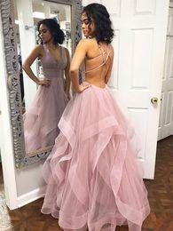 Fancy Prom Dresses Australia - fancy dusty pink black girls prom dresses deep v neck full length tulle ruffles cross backless formal evening gown cheap slim sweet 15