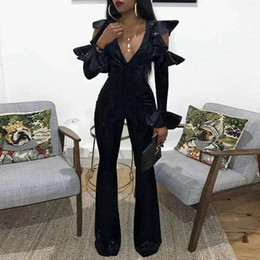 $enCountryForm.capitalKeyWord NZ - Missord 2019 Women Summer Sexy Deep V Long Sleeve Rompers Female Elegant Speaker Sleeve Jumpsuits FT18982 T5190614