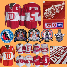 b9df9128f Nicklas Lidstrom Jersey 1971 Hall Of Fame Stanley Cup Ice Hockey Detroit  Red Wings Jereys Winter Classic CCM Vintage