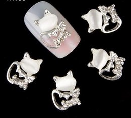 Kitty Glitter Australia - 10pcs Glitter Kitty Cat Rhinestones 3d Nail Art Decorations, Alloy Nail Sticker Charms Jewelry For Gel polish Tools Tn053