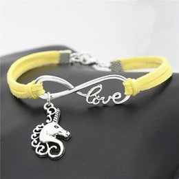 $enCountryForm.capitalKeyWord NZ - Yellow Leather Suede Bracelets For Women Men Female Male Braided Infinity Love Horse Head Unicorn Pendant Adjustable Punk Pulseira Jewelry