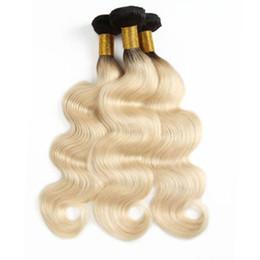 $enCountryForm.capitalKeyWord Australia - DHL Fedex Free Brazilian Human hair weft 3 Bundles T1b 613 Blonde Ombre Color Body Hair weave Brazilian Remy Hair 100gr piece