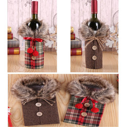 Dhl styles clothing online shopping - 2 Styles Wine Cover With Bow Plaid Linen Bottle Clothes With Fluff Wine Bottle Cover For Party Festival Christmas Decoration DHL HH9