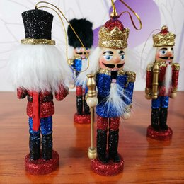 wooden craft decoration Australia - 12.5CM Nutcracker Soldier Puppet Wooden Crafts Home Decoration Desktop Ornaments Christmas Gift Birthday gifts Toy for Girl Kids 6 pcs set