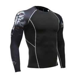 $enCountryForm.capitalKeyWord UK - Wolf 3D Printed T-shirt Compression Tights Men Fitness Running Shirt Breathable Long Sleeve Sports Rashgard Gym Cycling Clothing