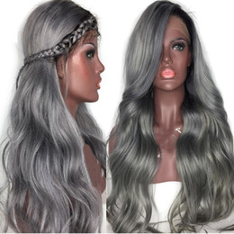 $enCountryForm.capitalKeyWord Australia - 180% Density Full Lace Human Hair Wigs Ombre 1B Gray Dark Roots Remy Hair Loose Wave Full Lace Wigs With Baby Hair