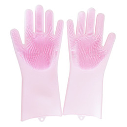 silicone dogs NZ - Magic Cleaning Gloves Silicone Non-slip Dishwashing Gloves Kitchen Bathroom Tools Pet Dog Care Grooming Free DHL