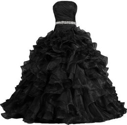 $enCountryForm.capitalKeyWord UK - 2019 Fashion Black Formal Organza Strapless Lace Up Back Party Ball Gown Wedding Dresses Custom Plus Size For Wedding Occasion