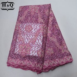 $enCountryForm.capitalKeyWord NZ - New Pink African Lace Fabric With Sequins French Water Soluble Lace Fabric High Quality Embroidery Chiffon Patchwork