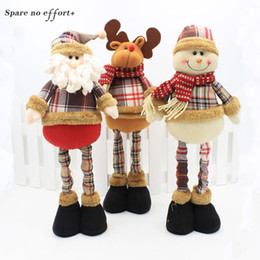 Wholesale 47cm Santa Claus Snowman Christmas Dolls Christmas Decorations for Home Retractable Standing Toy Birthday Party Gift Kids Natal
