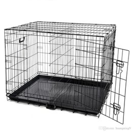 "pp housing Australia - 42"" Dog Crate 2 Door w Divide w Tray Fold Metal Pet Cage Kennel House for Animal"