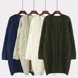 2017 Korean Winter Thick Open Stitch Sweater Warm Solid Long Twist Loose  Cardigans Female Knitted Brief Feminino cb8f74604