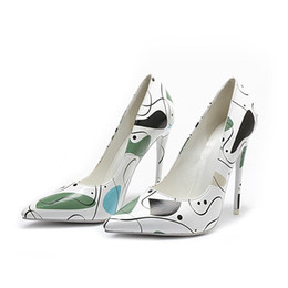 Shoes Metal Print Australia - newest elegant women ladies party Fashion wild Pointed toe metal covered by upper drawing super quality pu high heel dress shoes 4aagd