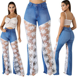 skinny lace jeans women Australia - Womens sexy Trousers lace panelled jeans Pants Casual flared trousers sports Pants Womens Sexybodycon Sport Girl Skinny Pants klw1911