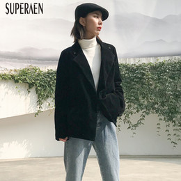 Winter Suit Styles Women NZ - SuperAen Corduroy Jacket Female Winter 2018 New Korean Style Wild Women Jacket Retro Solid Color Casual Suit Female