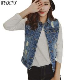 c09a657ad2994 2019 New Korean Denim Vest Women Casual Jeans Waistcoat Sleeveless Ripped Jacket  Lady Autumn Summer Fashion Slim Outerwear W184
