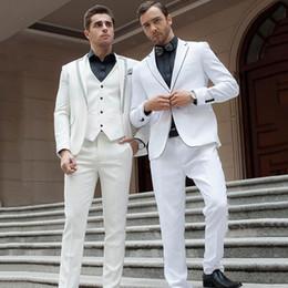 $enCountryForm.capitalKeyWord Australia - Custom Made Slim Men Suits for Wedding White Groom Tuxedo Business Jacket Man Blazer 3Piece (Coat Pants Vest)Costume Homme Terno Masculino