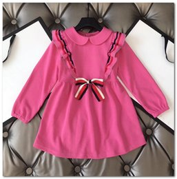 european style clothes for kids Australia - Brand girls dresses preppy style stripe Bows tie princess dress for kids lapel falbala fly sleeve dress high quality children clothing P0019