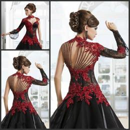 $enCountryForm.capitalKeyWord NZ - Vintage Victorian Gothic Masquerade Black Wedding Dresses High Neck Lace Applique One Sleeve Beading Arabic Keyhole Bridal Gowns Plus Size