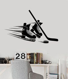 Art Sticks Australia - Skates Stick Puck Equipment Vinyl Wall Decal For Living Room Bedroom Home Decor Hockey Player Stickers Art Modern Mural