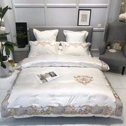 Red Embroidered Bedding Australia - White Gray Satin Cotton Duvet Cover Set Luxury Bedding Set 4 7Pcs Queen King size Embroidery Bedding Smooth Silky