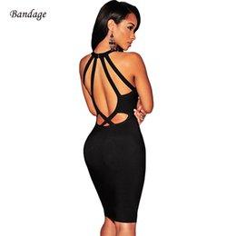 Wholesale cutout mini dress resale online – New Summer Hollow Out Halter Backless Dress Cutout Bodycon Bandage Elegant Vestido Celebrity Party Women Mini Sexy Dresses Black