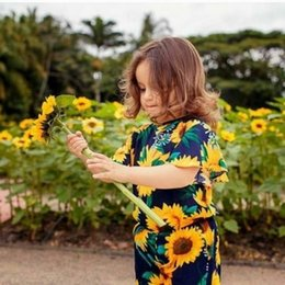 Wholesale Kids Girl Overalls Cute Baby Girl Short Sleeve Romper Sunflower Printed Jumpsuit Shorts Outfits Summer Children One Piece Romper