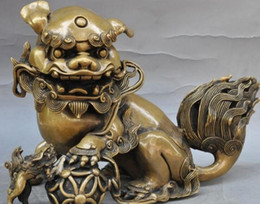 china ball lighting Canada - New + SCY 11 chinese bronze fengshui foo dog beast Mother son lion play ball art statue