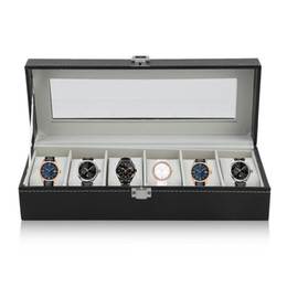 mens wholesale glasses Australia - Watch Box Watch Case Large 6 Mens Black Pu Leather Display Glass Top Jewelry Case Organizer Box - Black