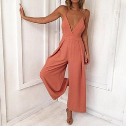 Clubwear wedding dress online shopping - Women Causal V Neck Back Bow Jumpsuit Clubwear Bodycon Playsuit Romper Macacao Casual Wedding Jumpsuit Sexy Overalls Mono F4 Y19062201