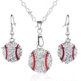 Crystal Ball Base Australia - Crystal Baseball Pendant Earrings Necklace Jewelry Sets Fashion Sports Jewelry Best Friend Gift For Team Club Base Ball Lovers T0216