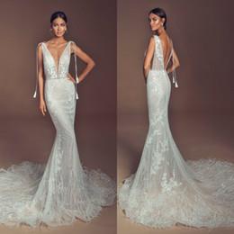 $enCountryForm.capitalKeyWord Australia - Elihav Sasson Mermaid Wedding Dresses Deep V Neck Lace Appliqued Beads Feather Beach Wedding Gowns Sweep Train Backless Bride Dress
