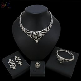 Bridesmaids African Fashion Australia - Yulaili New Wholesale Wedding Bridesmaid Simple Fashion Silver Jewelry Four Sets His And Hers Jewelry Set