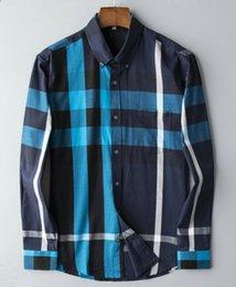$enCountryForm.capitalKeyWord Australia - Mens Bur berrys shirt designer top quality cotton long sleeve blouse plaid pattern lightweight business shirts tide tShirts loose large sizl